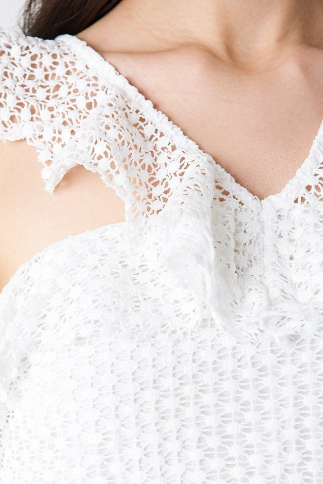 Double Frill Sleeve Top White
