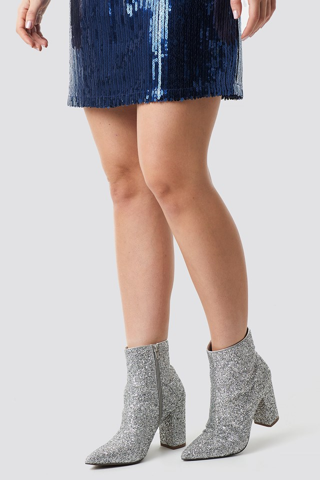 Glitter Heel Boots Silver