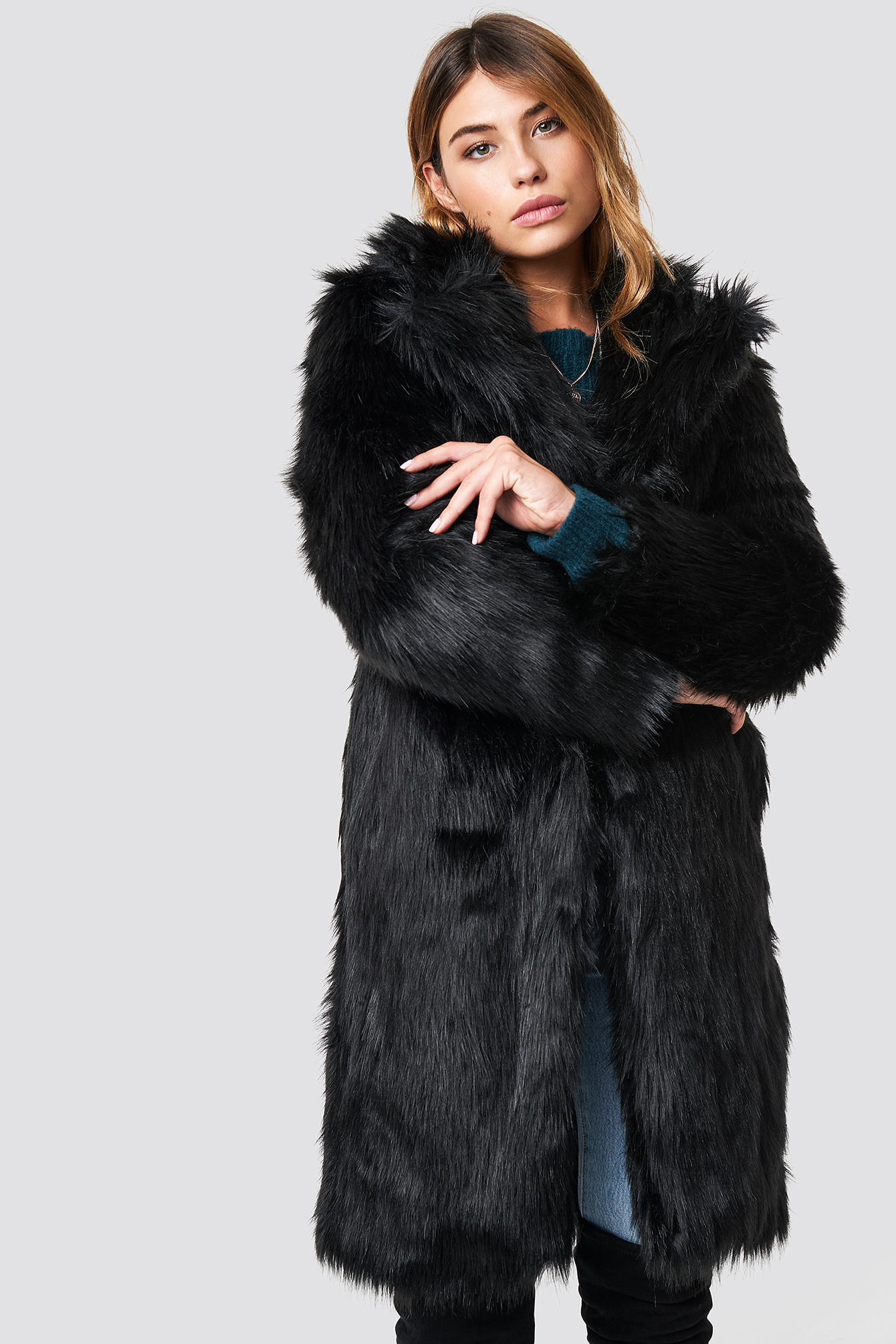 linn ahlborg x na-kd -  Long Faux Fur Coat - Black