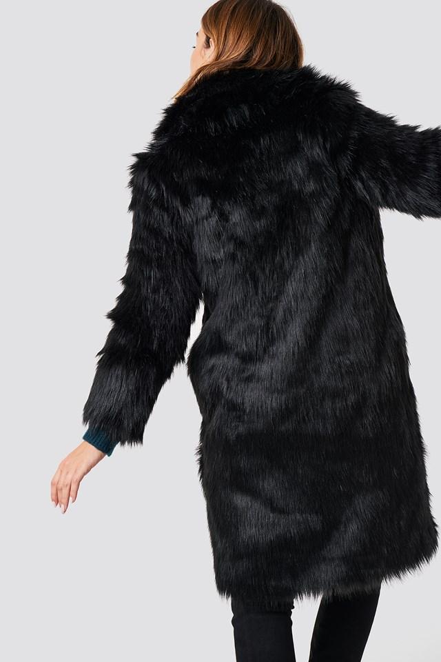 Long Faux Fur Coat Black