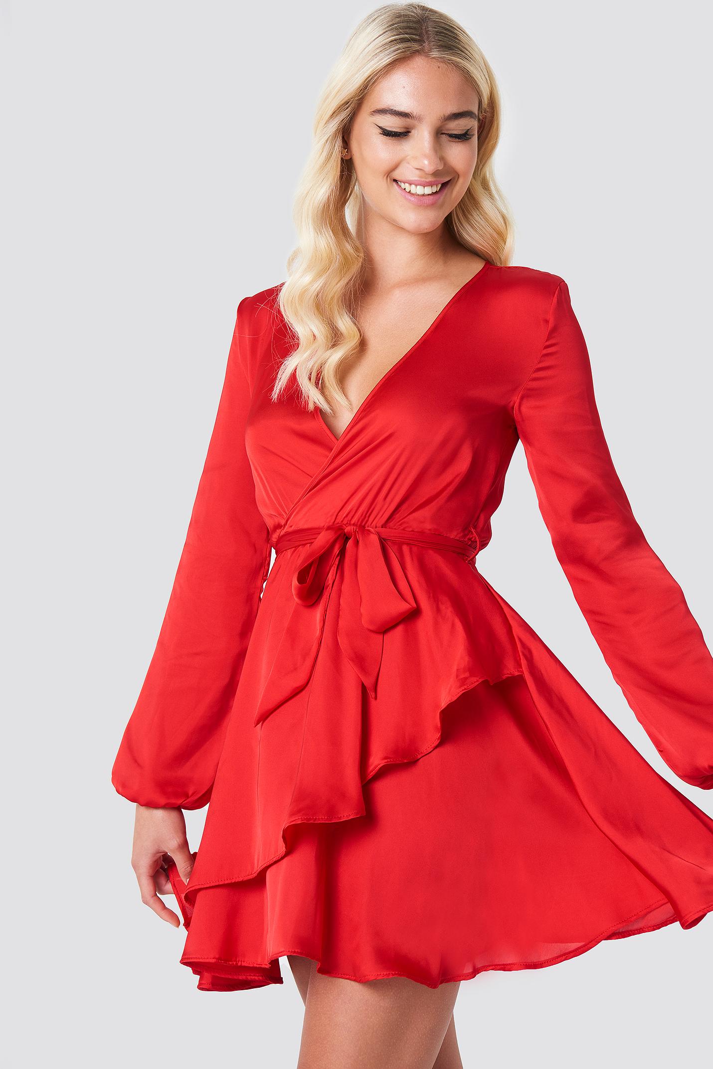 Long Sleeve Tie Waist Dress NA-KD.COM