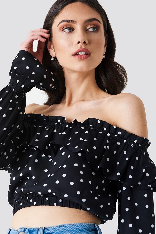 Off Shoulder Flounce Blouse Black/White dots