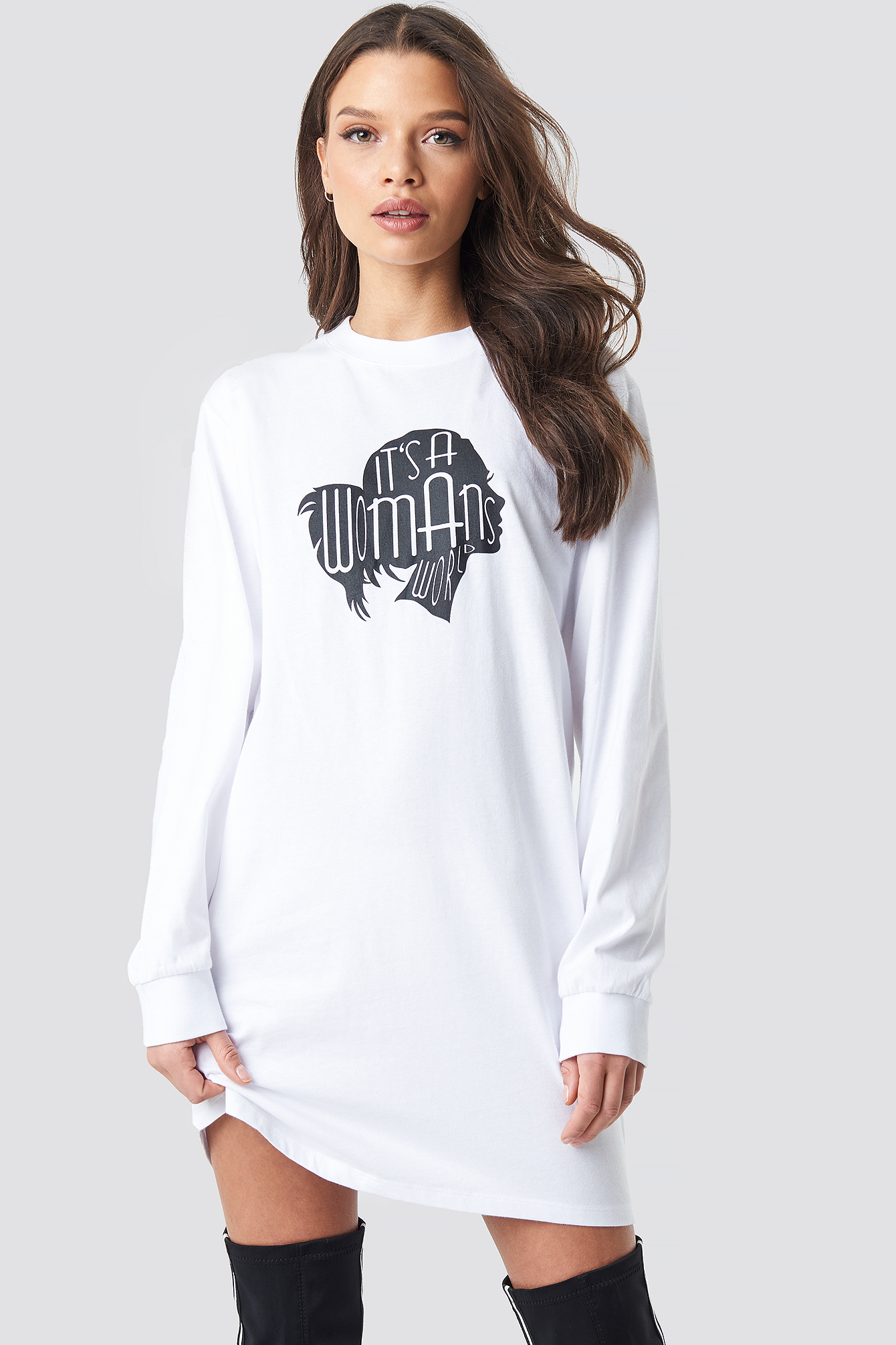 Oversized LS T-Shirt Dress NA-KD.COM