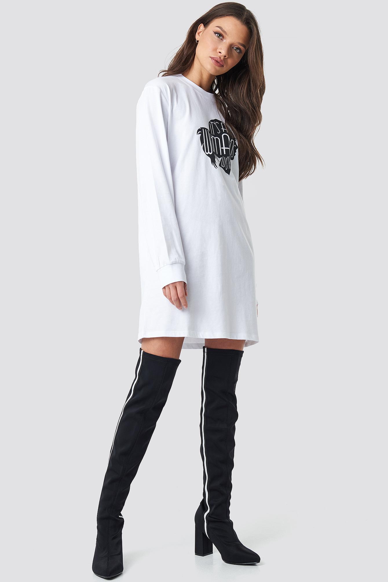 Oversized LS T-Shirt Dress NA-KD.COM