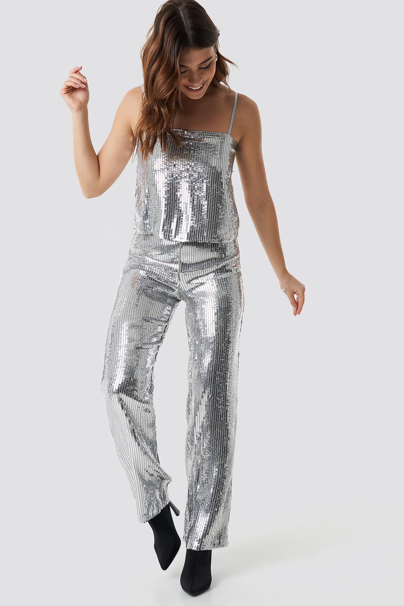 linn ahlborg x na-kd -  Sparkle Striped Flared Pants - Silver