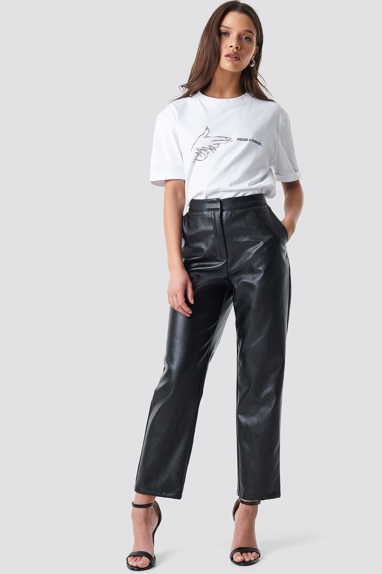 linn ahlborg x na-kd -  PU Leather Pants - Black