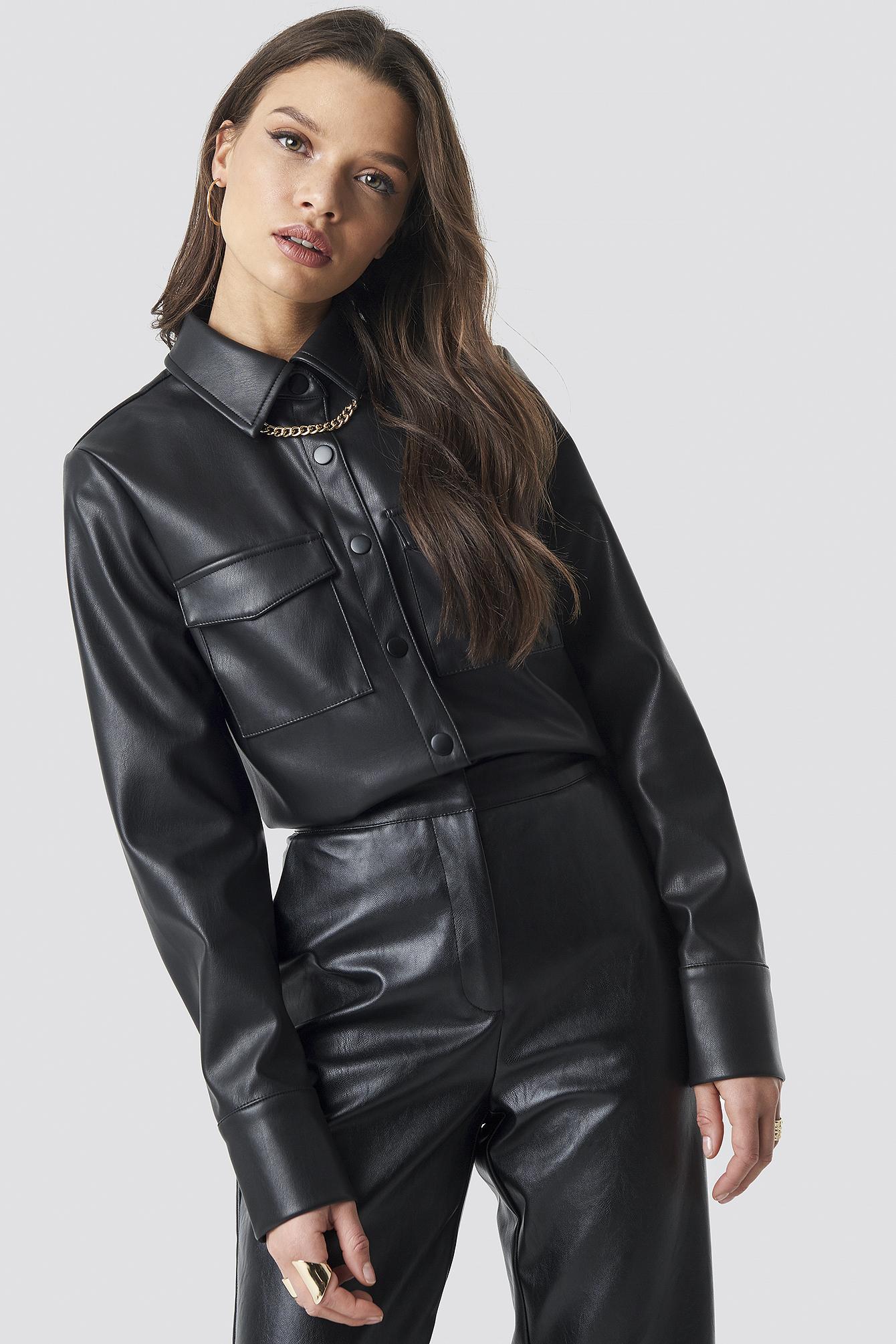 PU Leather Shirt NA-KD.COM