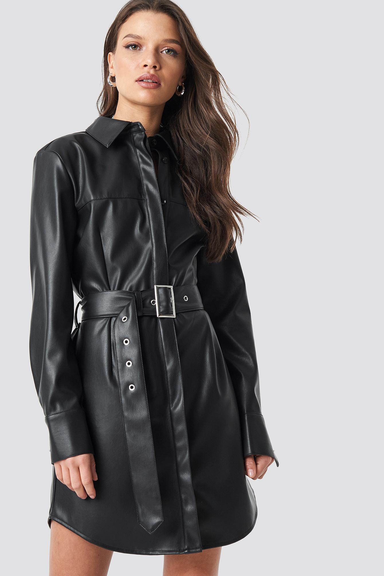 linn ahlborg x na-kd -  PU Leather Shirt Dress - Black