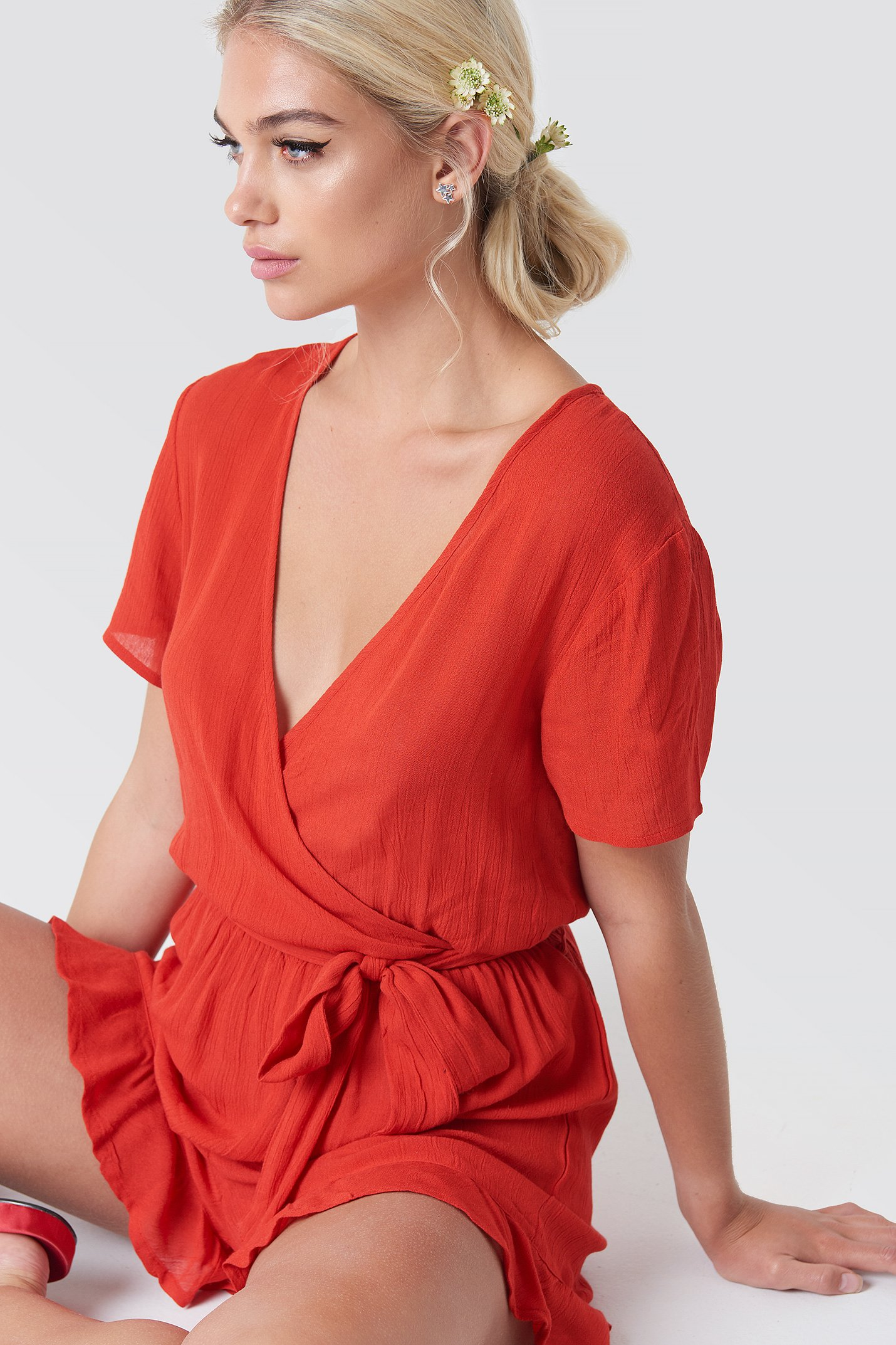 Short Sleeve Wrap Playsuit NA-KD.COM