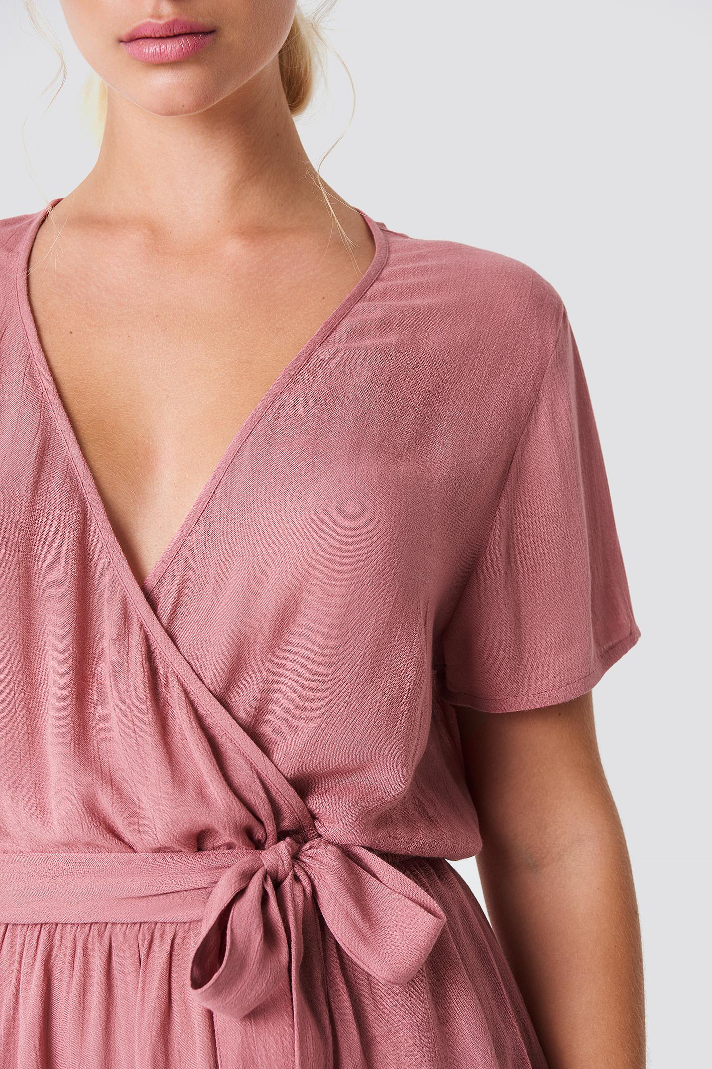 Short Sleeve Wrap Playsuit NA-KD.COM