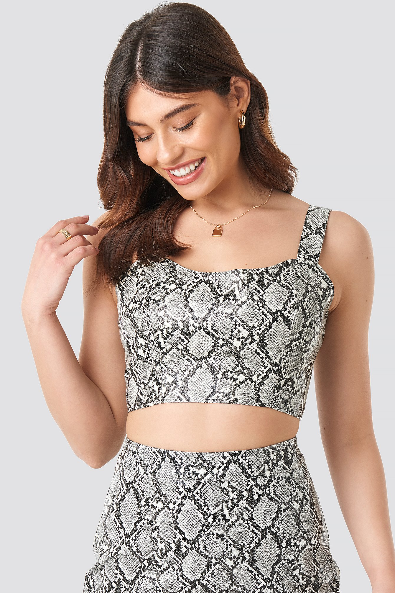 Snake Printed PU Crop Top NA-KD.COM