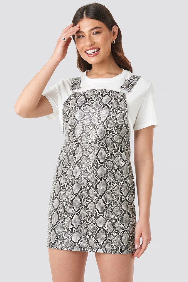 Snake Printed PU Dungaree Dress Snake