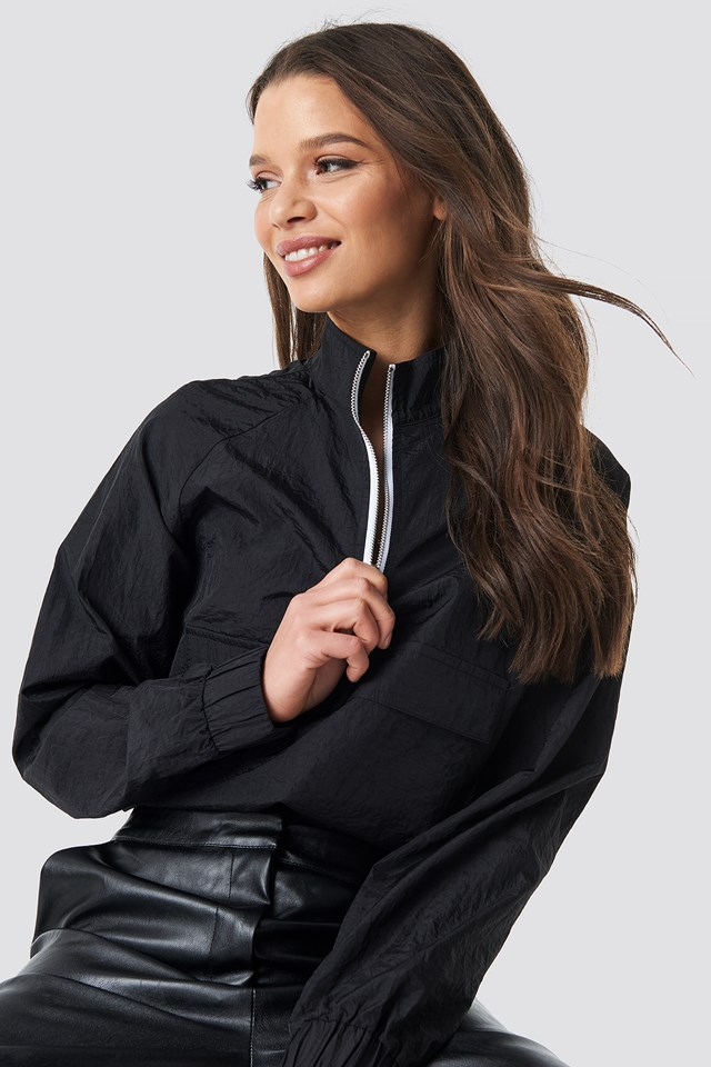 Sporty Front Pocket Jacket Black