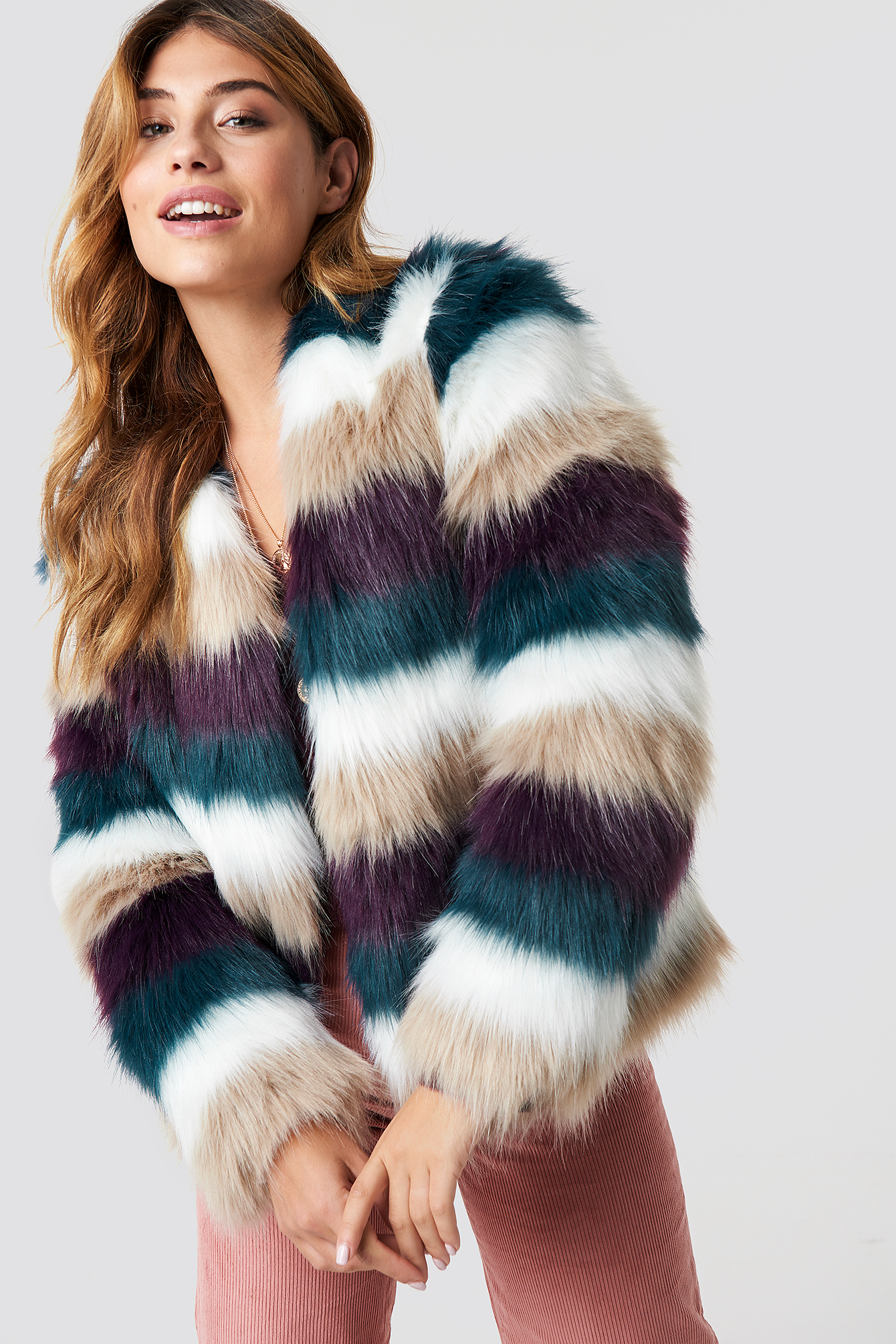 linn ahlborg x na-kd -  Striped Faux Fur Jacket - White,Red,Green,Beige,Multicolor