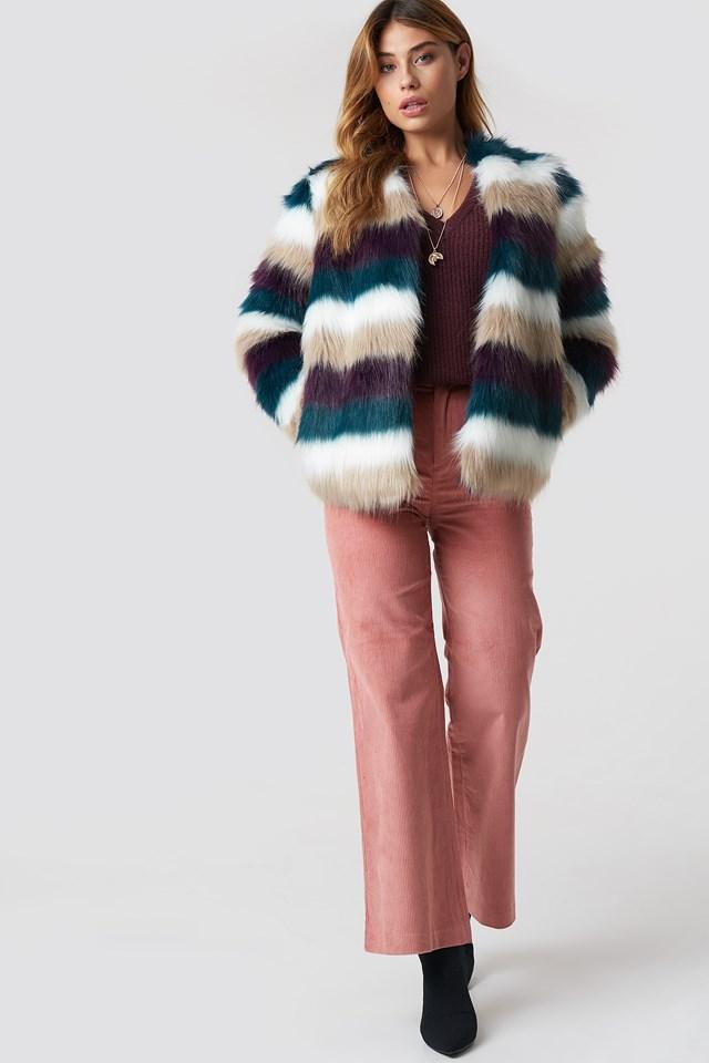 Striped Faux Fur Jacket Burgundy/Petrol/White/Beige
