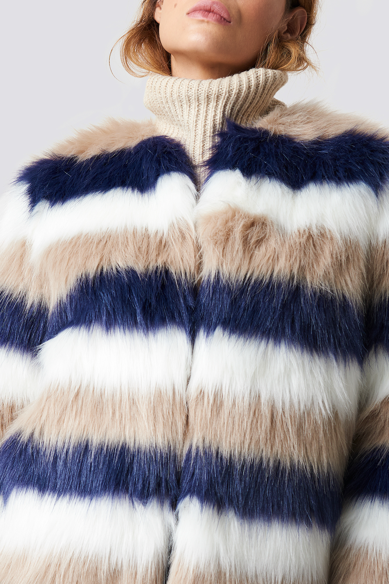 Striped Faux Fur Jacket NA-KD.COM