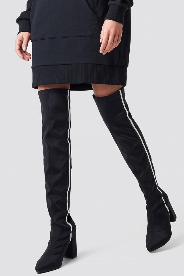 Striped Overknee Boots Black