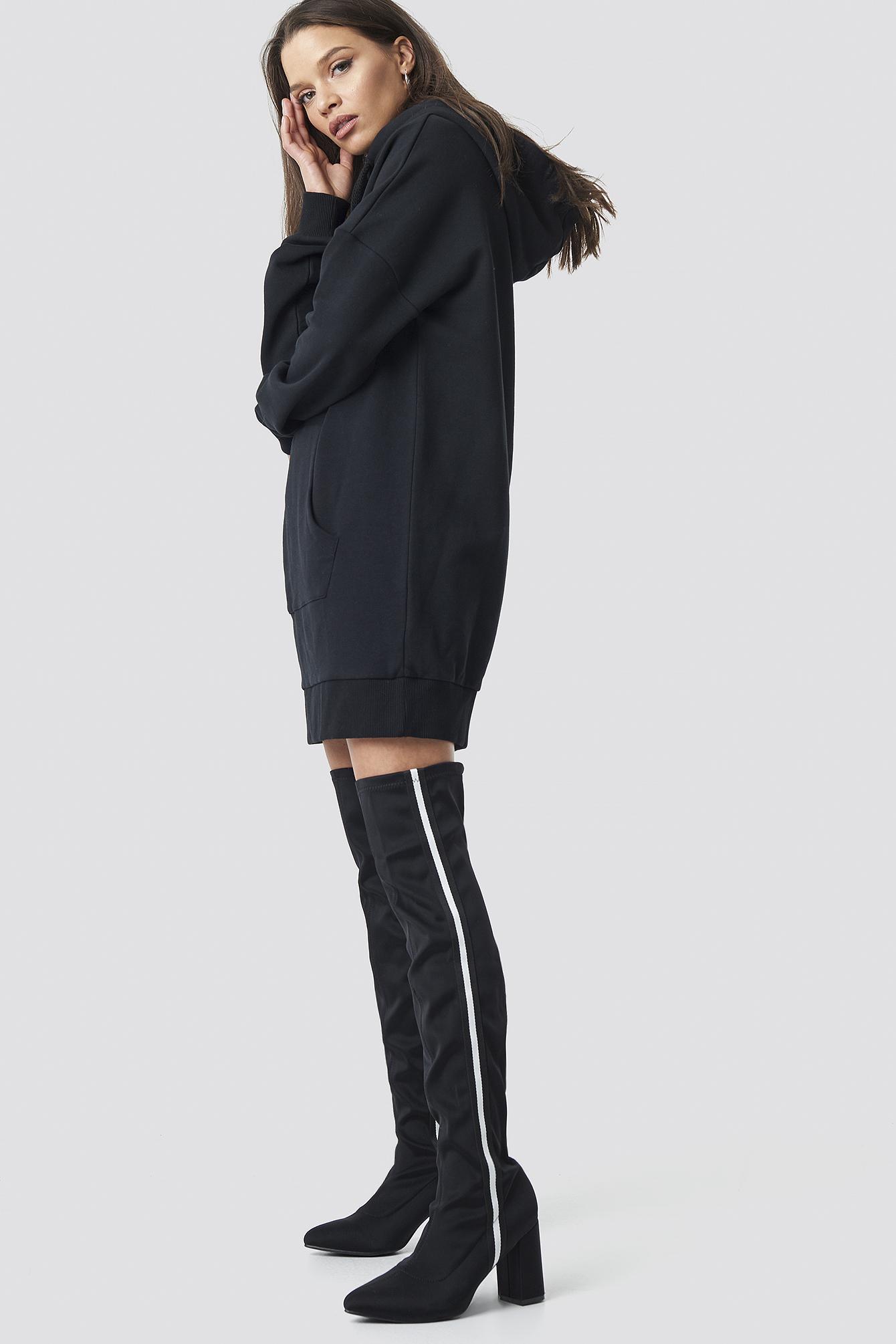 linn ahlborg x na-kd -  Striped Overknee Boots - Black