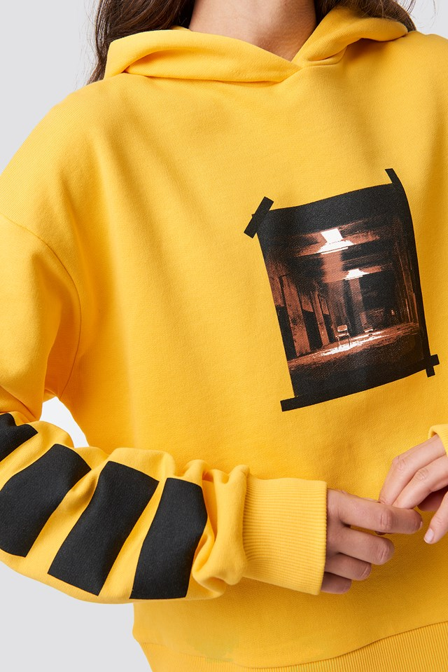 Striped Sleeve Hoodie Yellow
