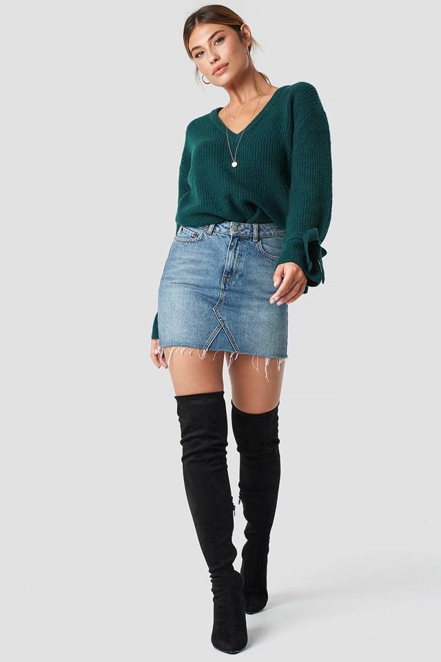 V-Neck Tie Sleeve Sweater Petrol
