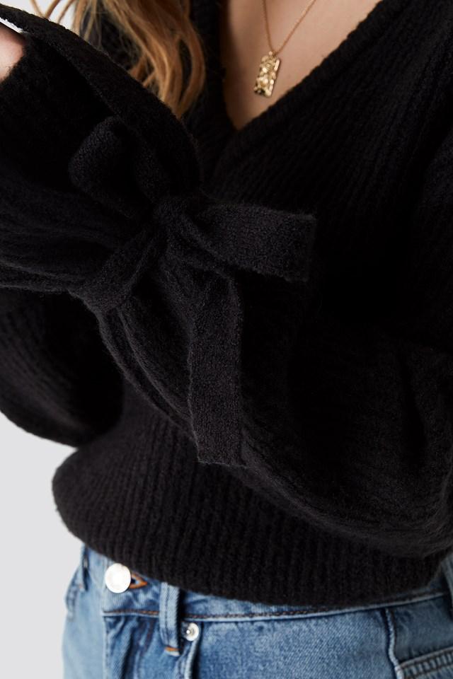 V-Neck Tie Sleeve Sweater Black