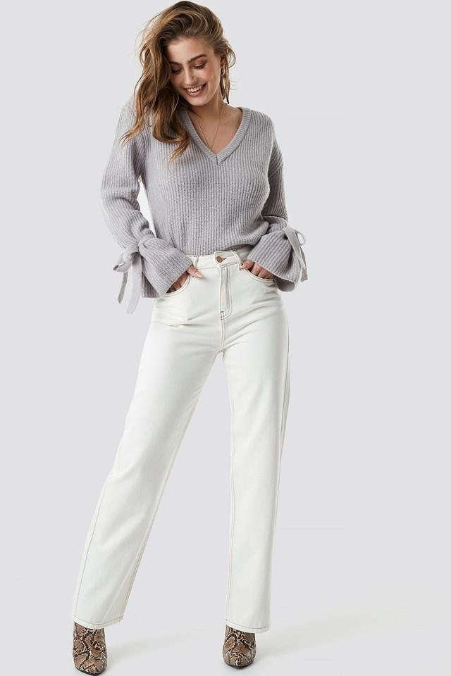 V-Neck Tie Sleeve Sweater Grey