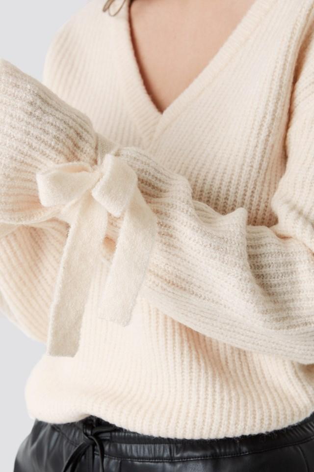V-Neck Tie Sleeve Sweater White