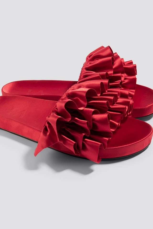 Satin Frill Slippers Red