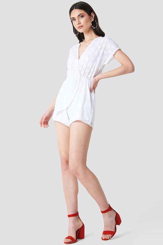 Sheer Dotted Playsuit White