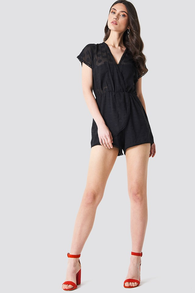Sheer Dotted Playsuit Black