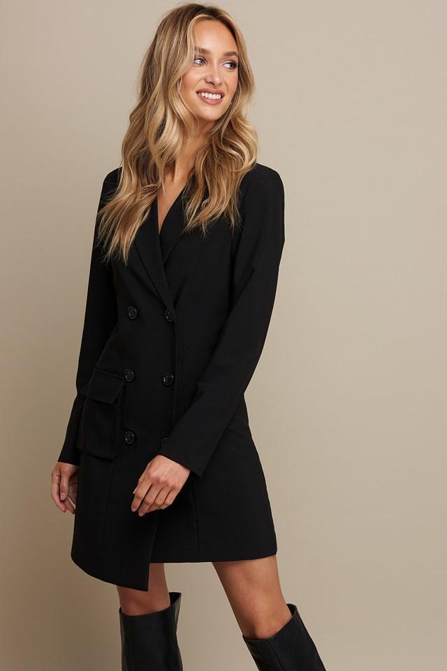Double Breasted Pocket Blazer Dress Black