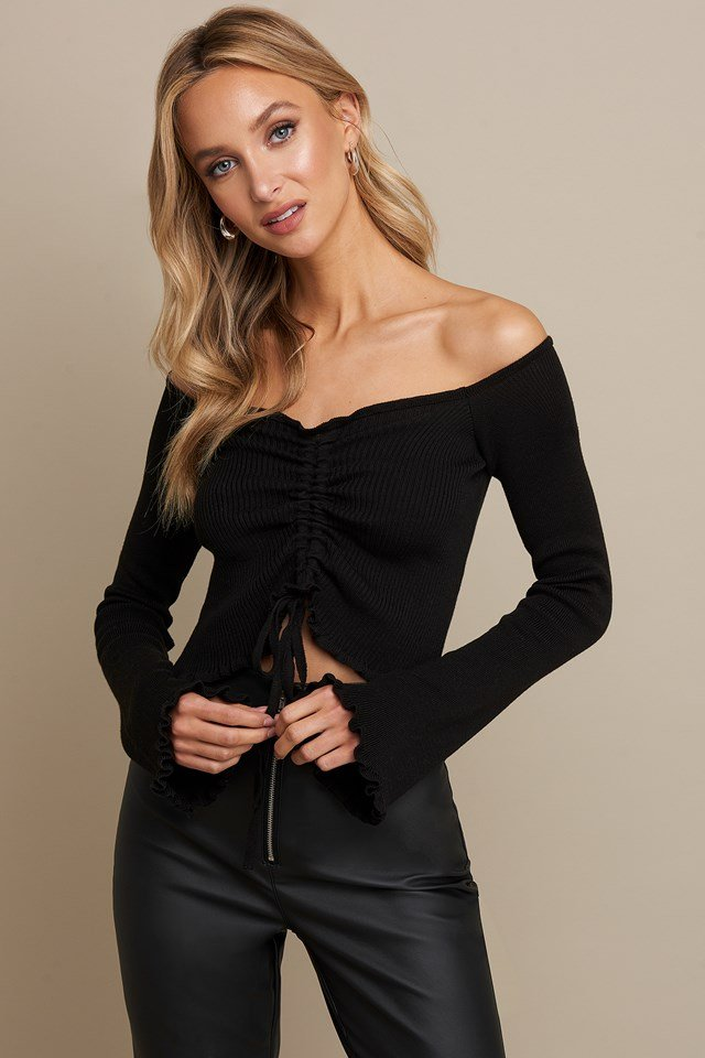 Drawstring Detail Top Black