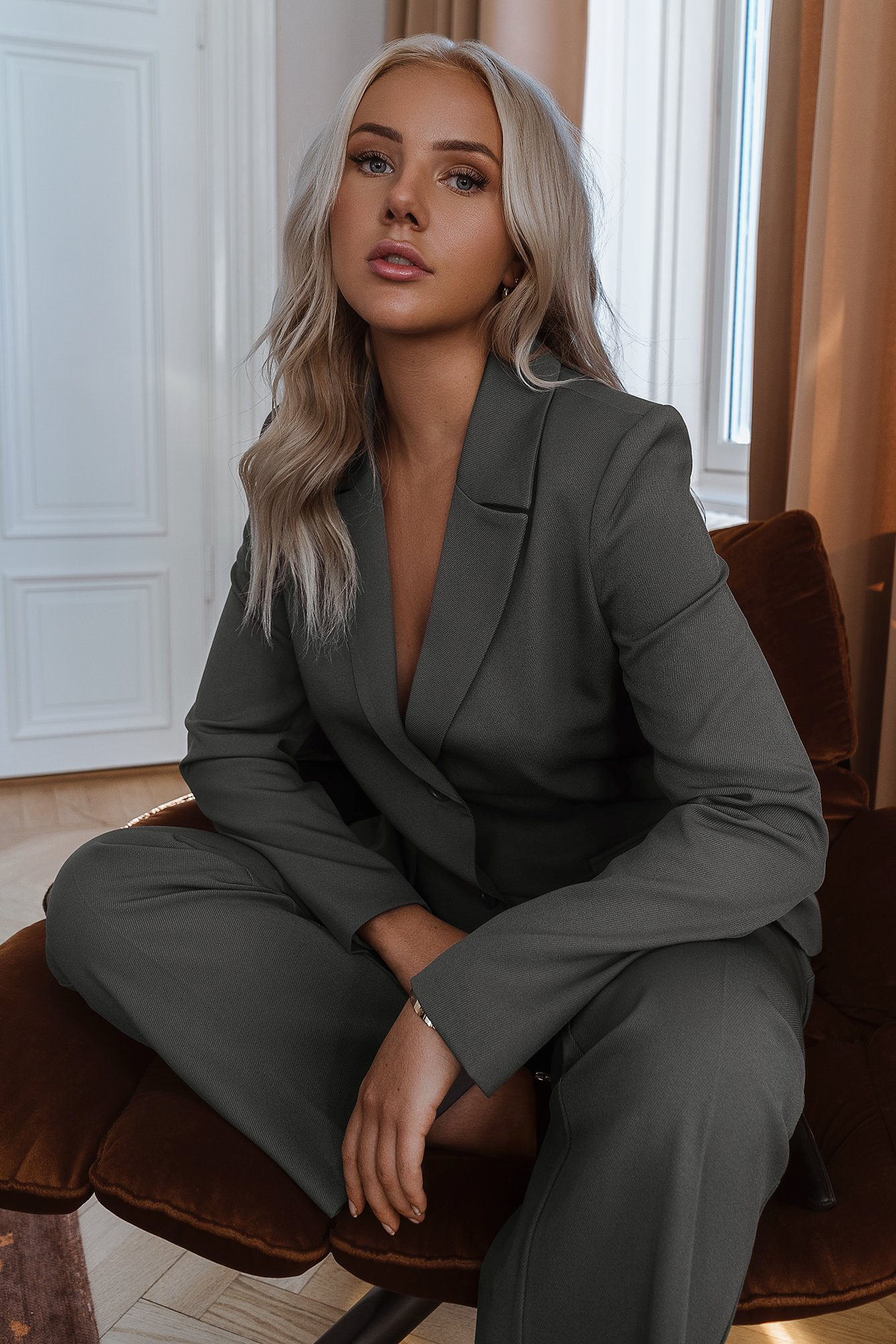 Fitted Blazer Grey by Linnahlborgxnakd