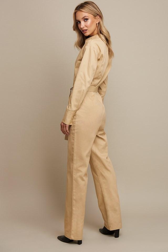 Front Pocket Jumpsuit Beige