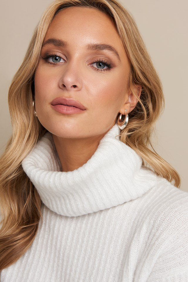 High Neck Cropped Sweater Off White