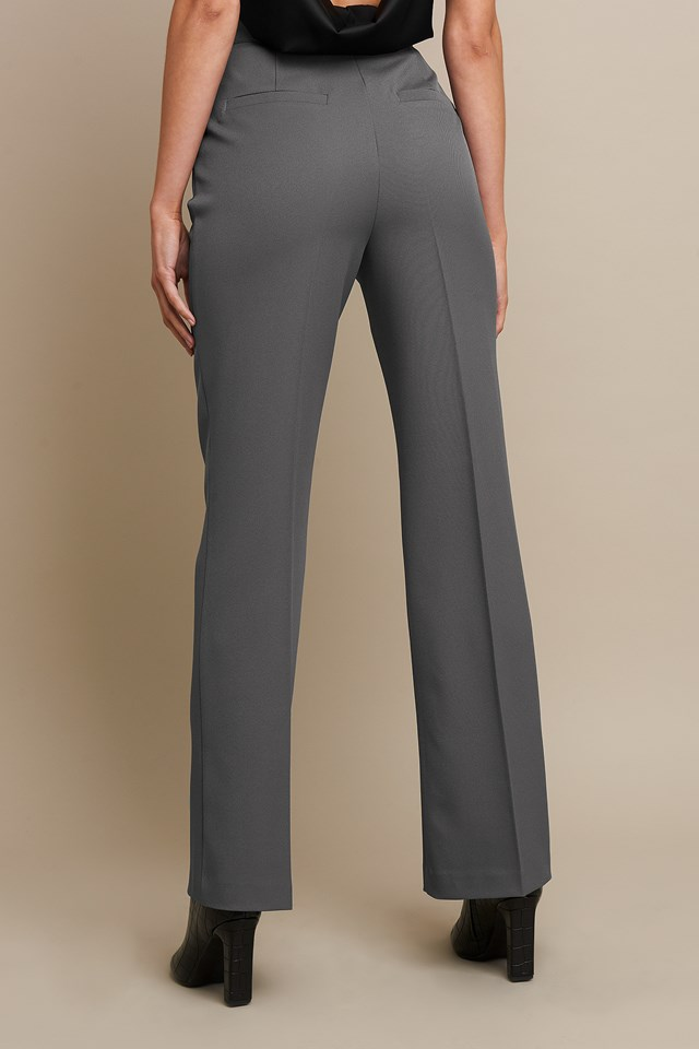High Waist Flared Leg Suit Pants Grey