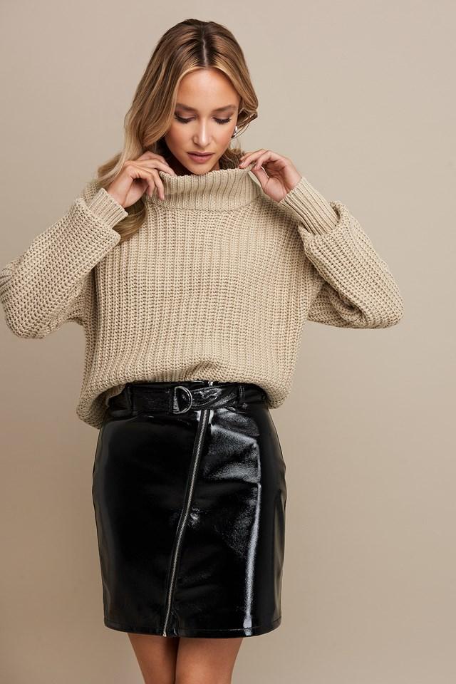 Patent Zipper Skirt Linn Ahlborg x NA-KD