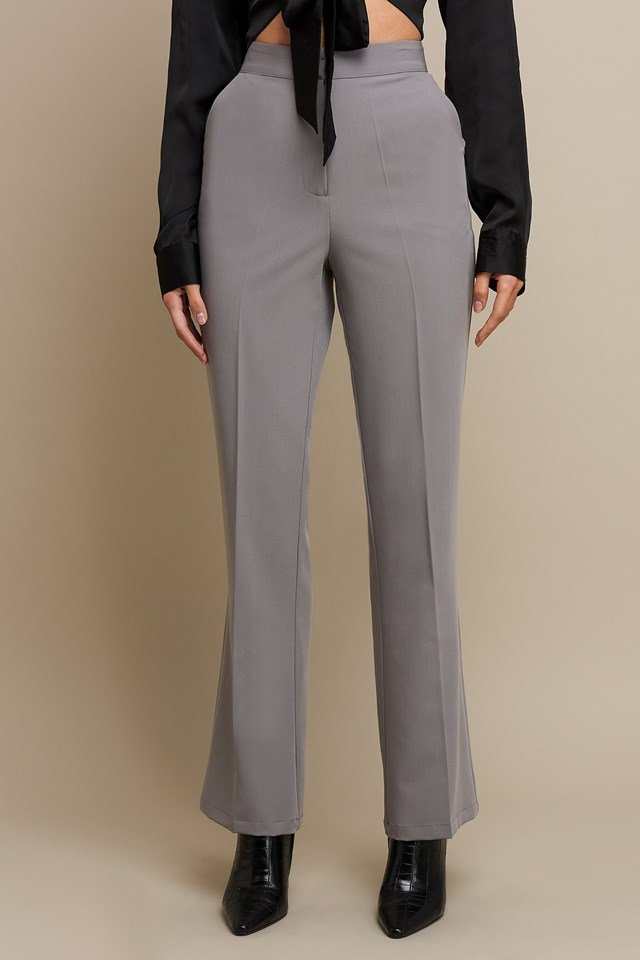 Pleat Front Flare Leg Suit Pants Grey