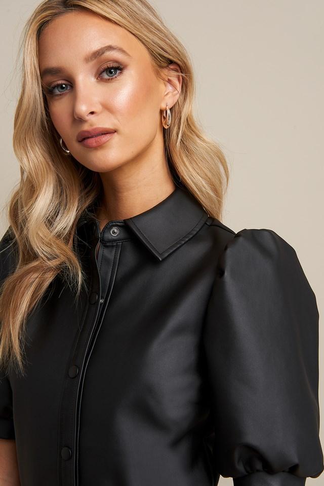 Puff Sleeve Button Dress Black