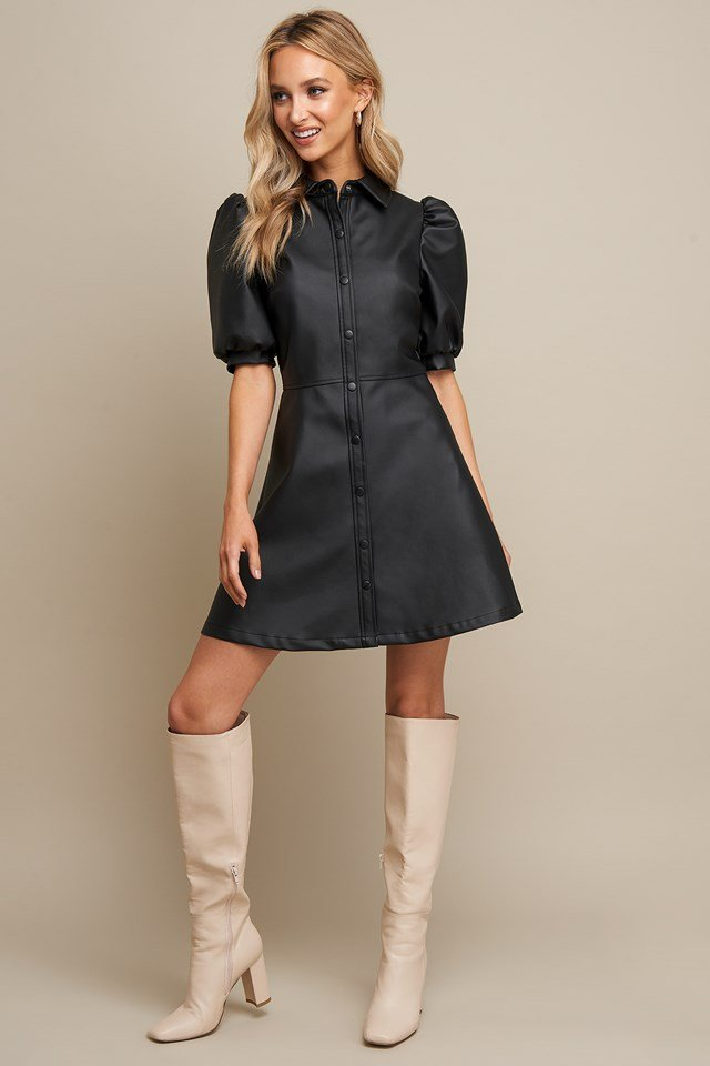 Puff Sleeve Button Dress Black