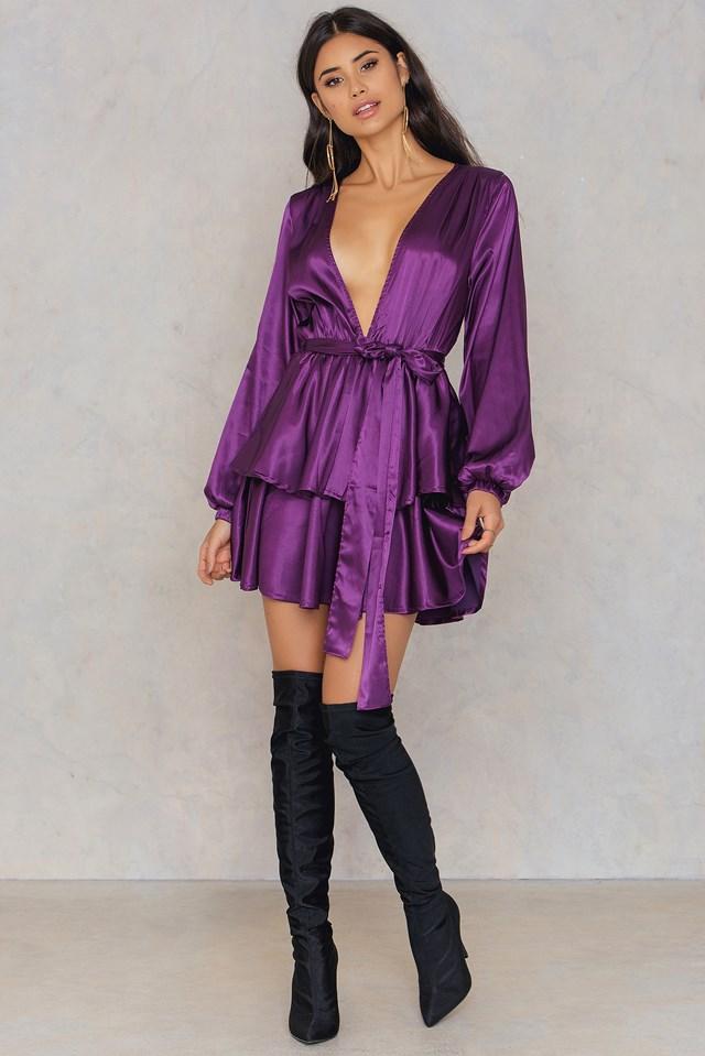 Chambord Tiered Dress Plum