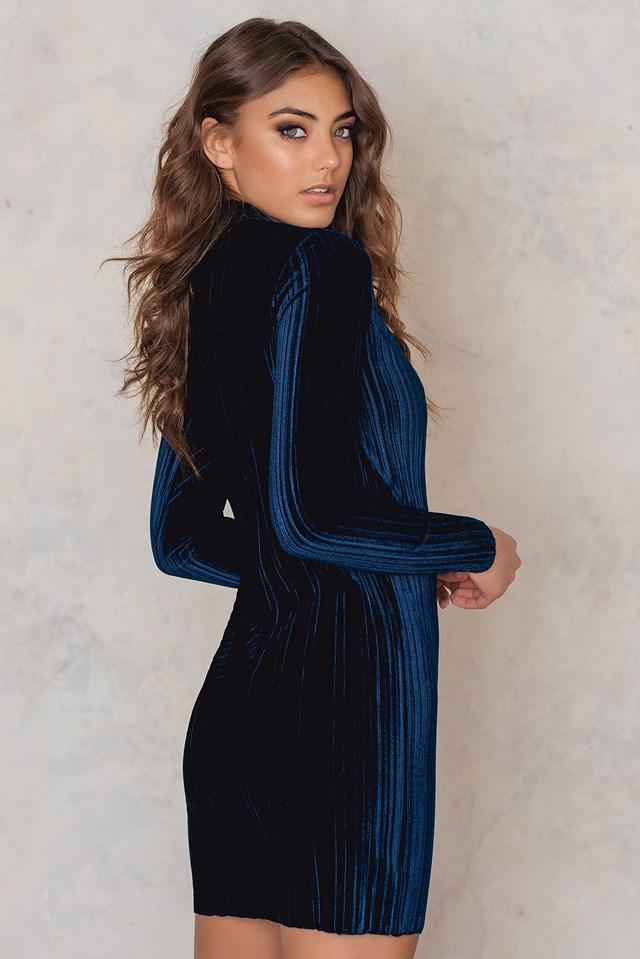 Dolce Velvet Pleat Mini Dress Navy