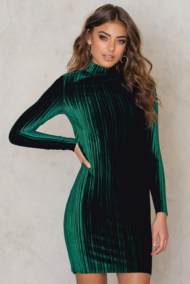 Dolce Velvet Pleat Mini Dress Emerald