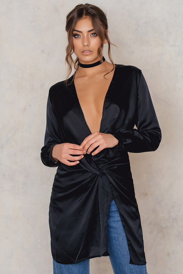 Fame And Lust Silk Dress Black
