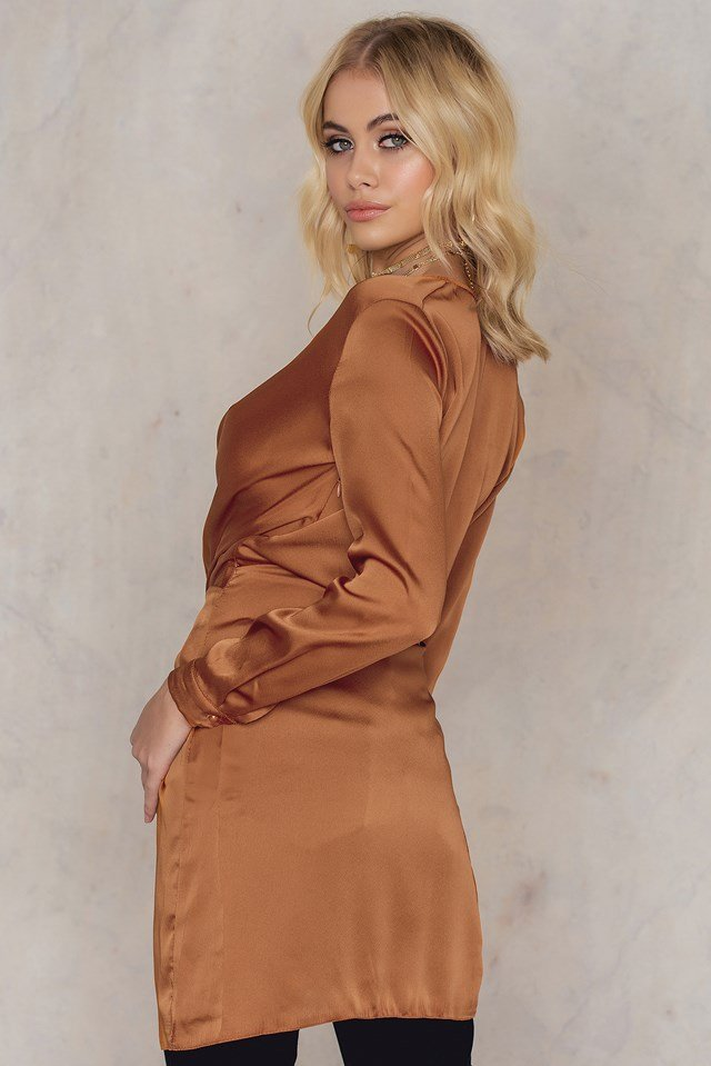 Fame And Lust Silk Dress Rust