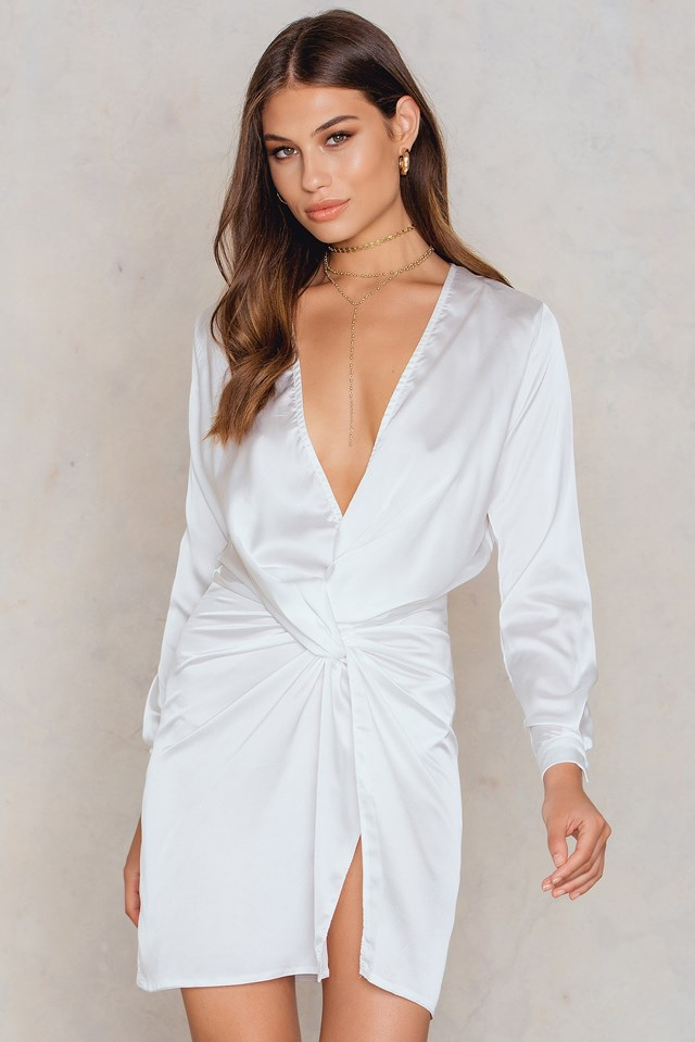 Fame And Lust Silk Dress White