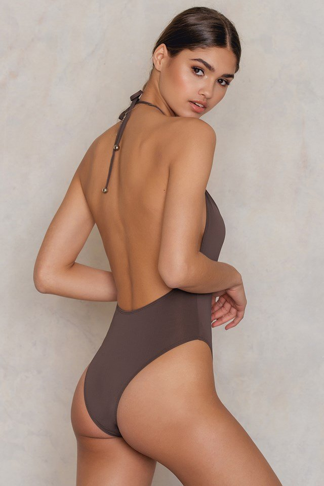 Jerry Hall Halter One Piece Brown