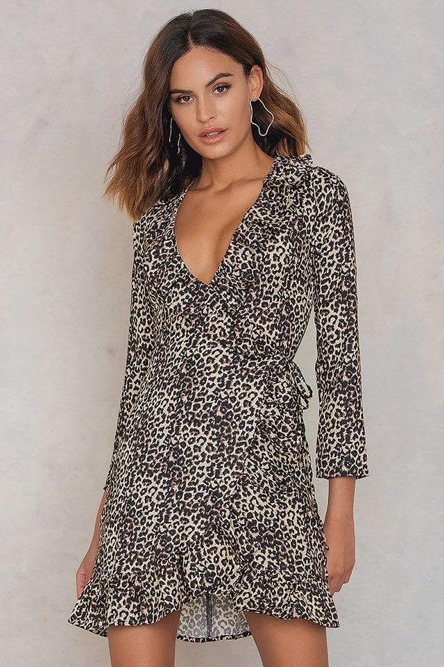 Leopard Silk Wrap Dress Leoprint