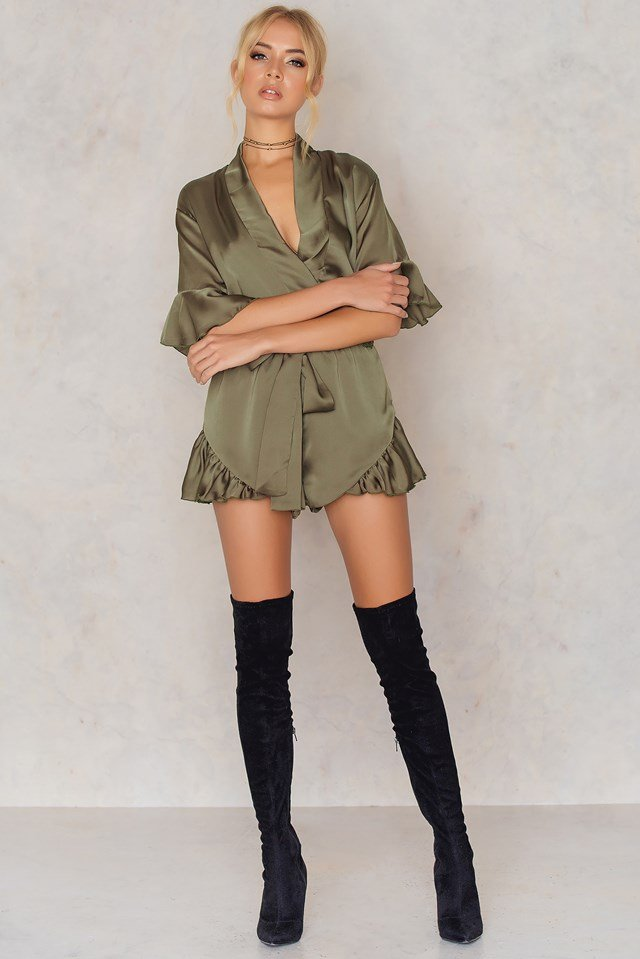 Meet Me In Como Romper Olive