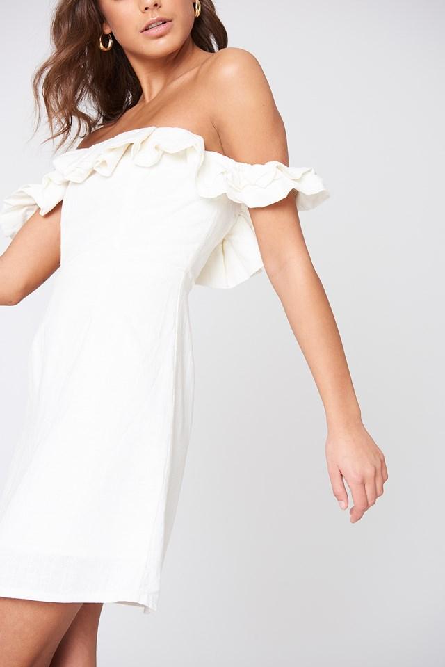 Rendevous Frill Dress White